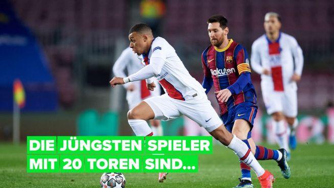 Die jüngsten Spieler mit 20 Toren in der Champions League