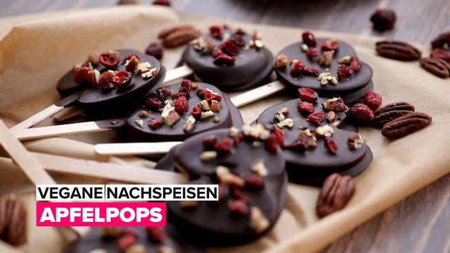 Vegane Desserts: Schokoladen Apfelscheiben Pops