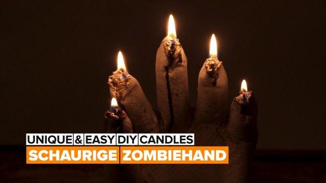 DIY Halloween-Kerze: Zombiehand