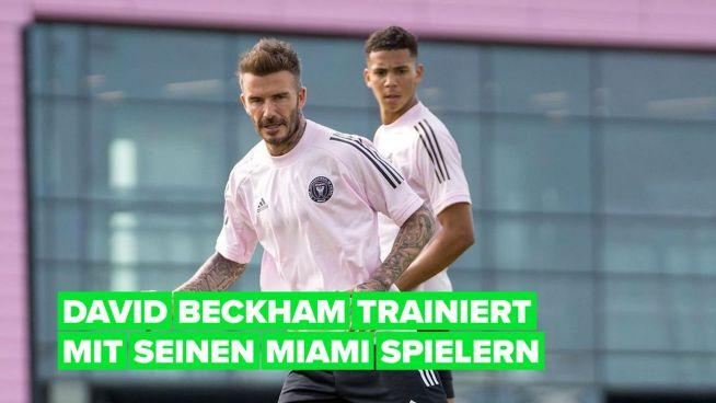 David Beckham schießt ein gekonntes Tor beim Inter Miami Training
